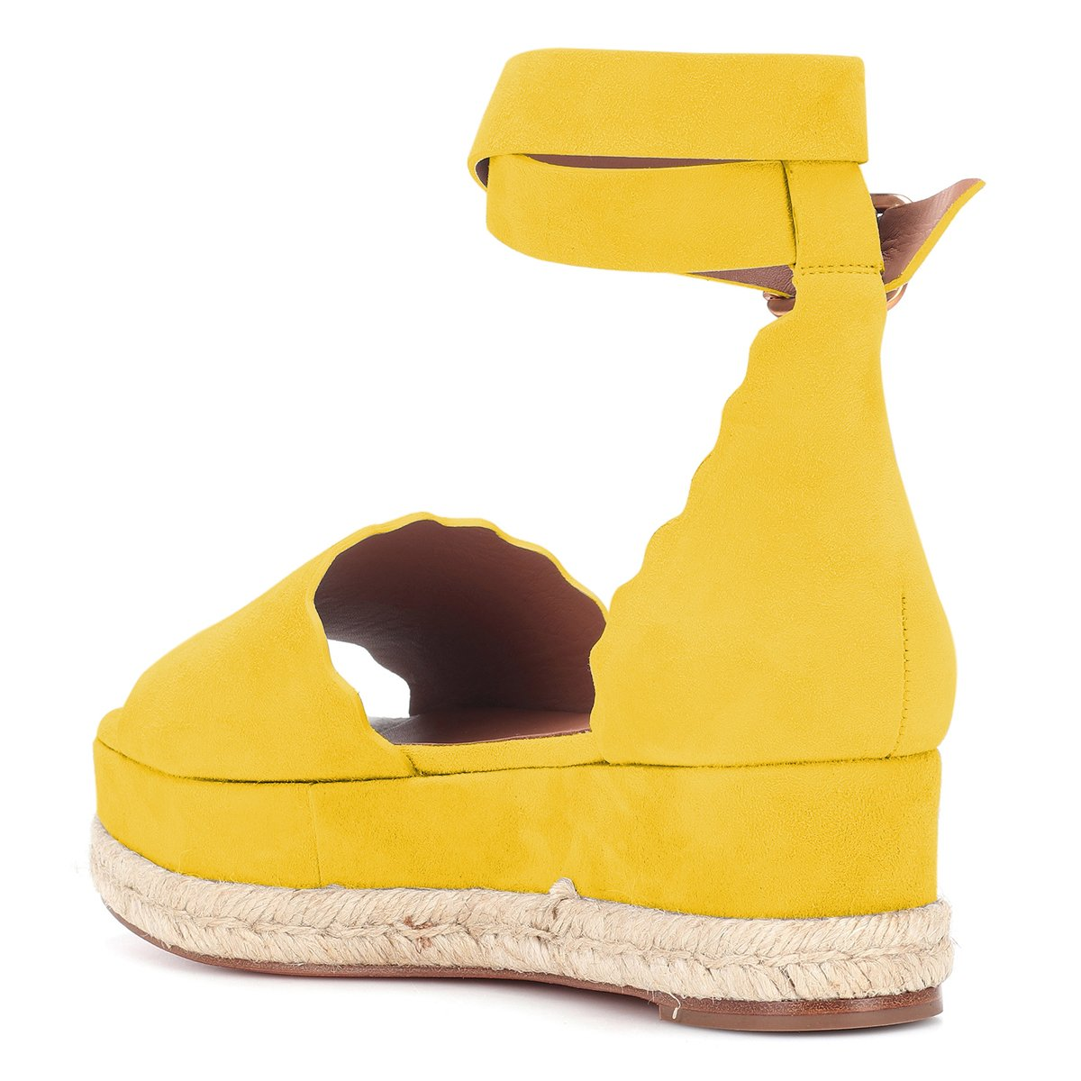 YDN Ankle Women Espadrille Peep Toe Ankle YDN Straps Wedge Sandals Low Heels Platform Shoes with Buckle B07DCNWYD6 5 M US|Yellow 44e74f