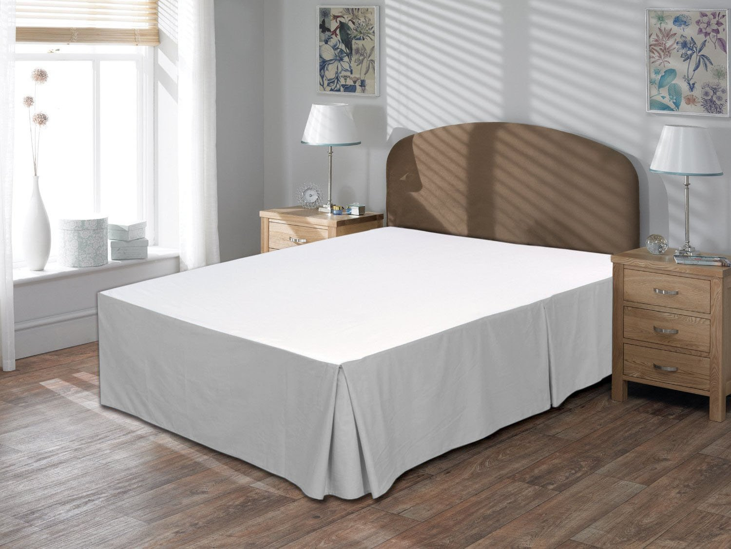 Lushness_Linen Hotel Collection 800TC Bedskirt 24'' Drop Length 100% Egyptian Cotton Queen Size Silver Grey Solid