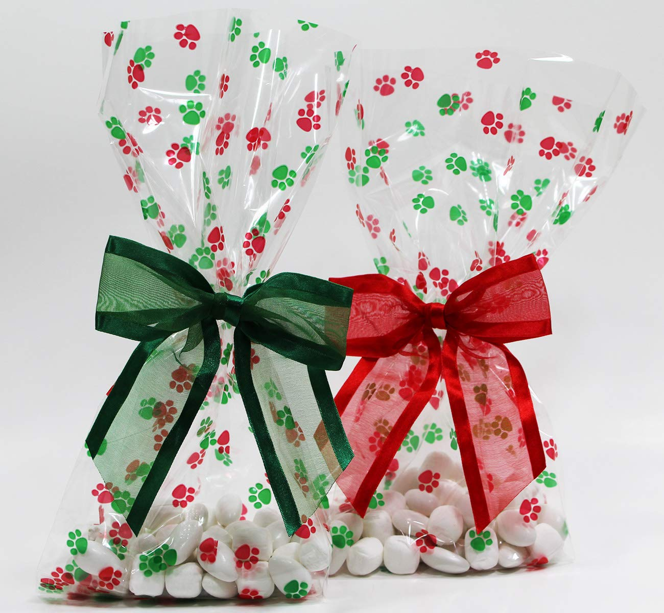 Christmas Dog Paw Print Cellophane Treat/Party Favor Bag