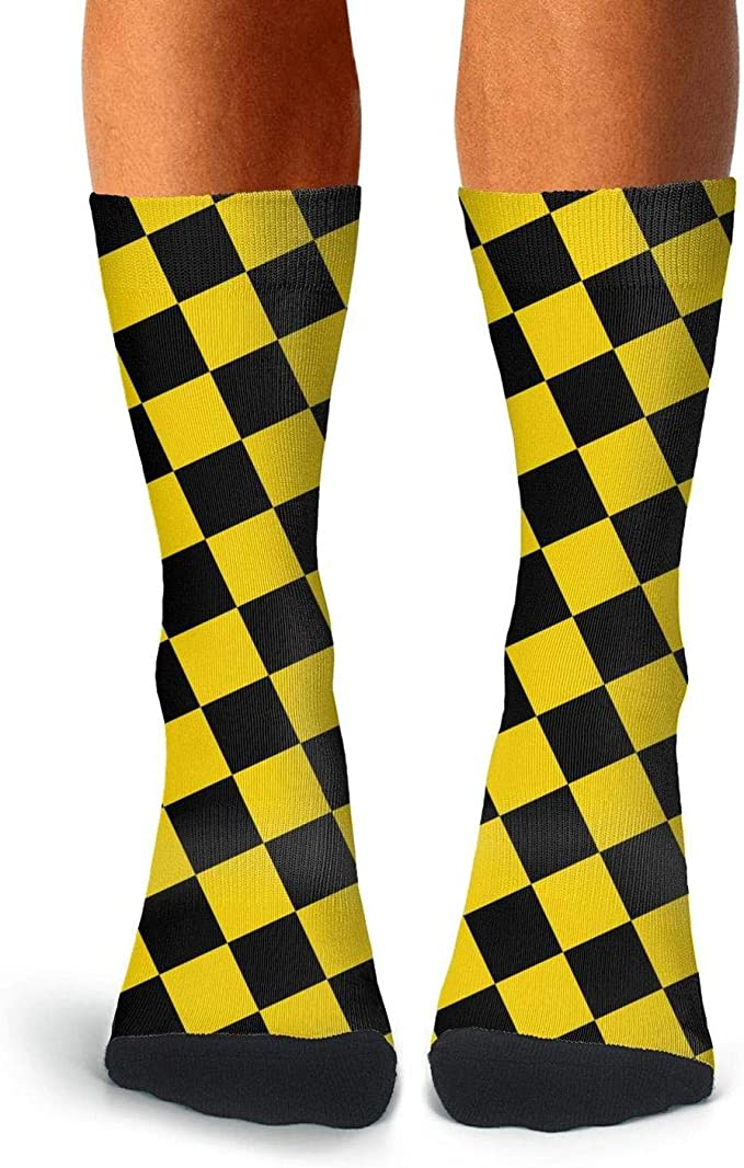 Womens 50 Full Print Stockings Yellow Donuts Knee High Crew Socks