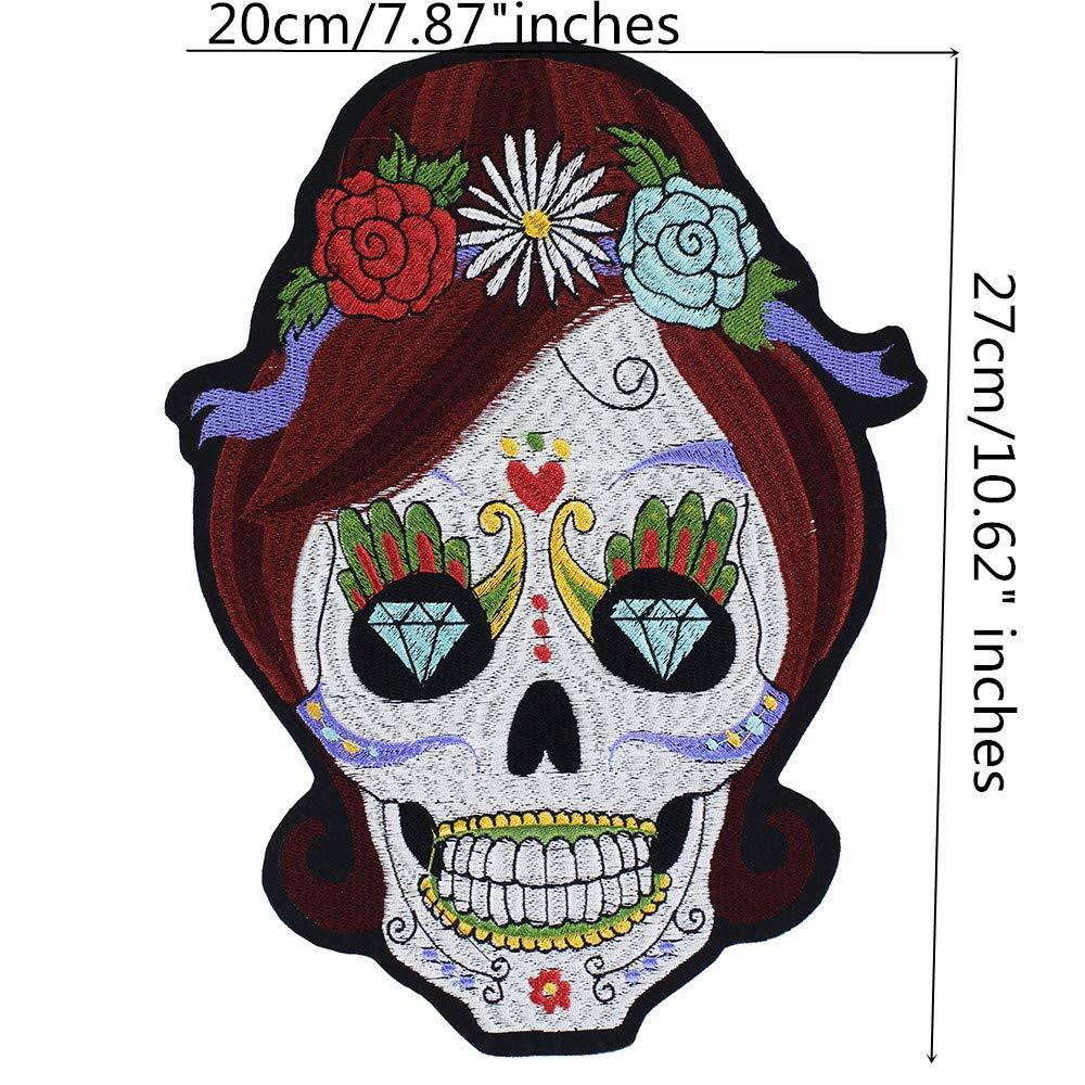 Parches Bordados con dise/ño de Calavera y Flores EMDOMO para Planchar Sobre la Ropa Manualidades Ropa /álbumes de Recortes para Chaquetas 1 Unidad Costura