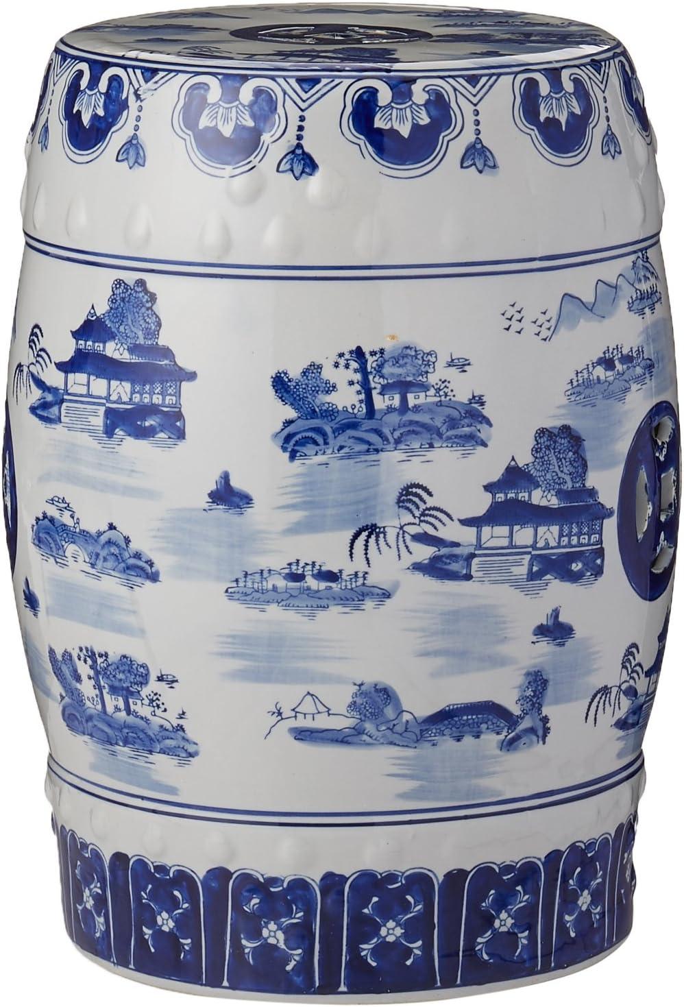"Oriental Furniture 18"" Landscape Blue & White"