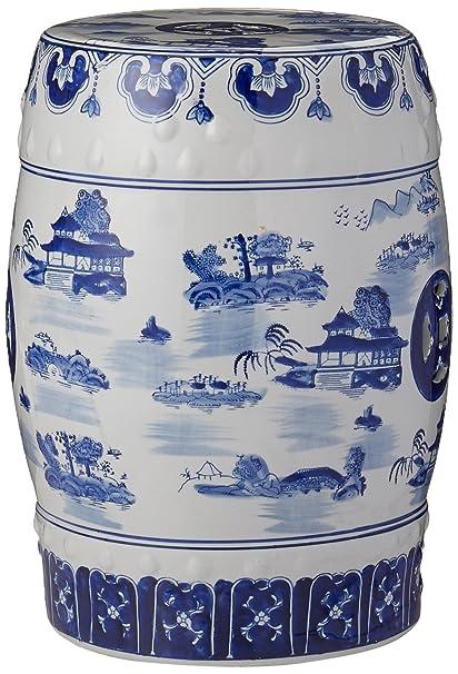 Amazon Com Oriental Furniture 18 Landscape Blue White Porcelain