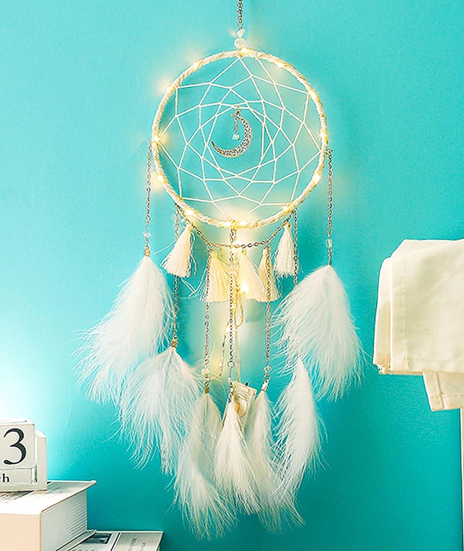 Dream Catcher Wall Decor for Bedroom, Handmade White Dream Catcher with Fairy Lamp Wall Decor, Home Decoration, Art Ornament Craft Gift (White)