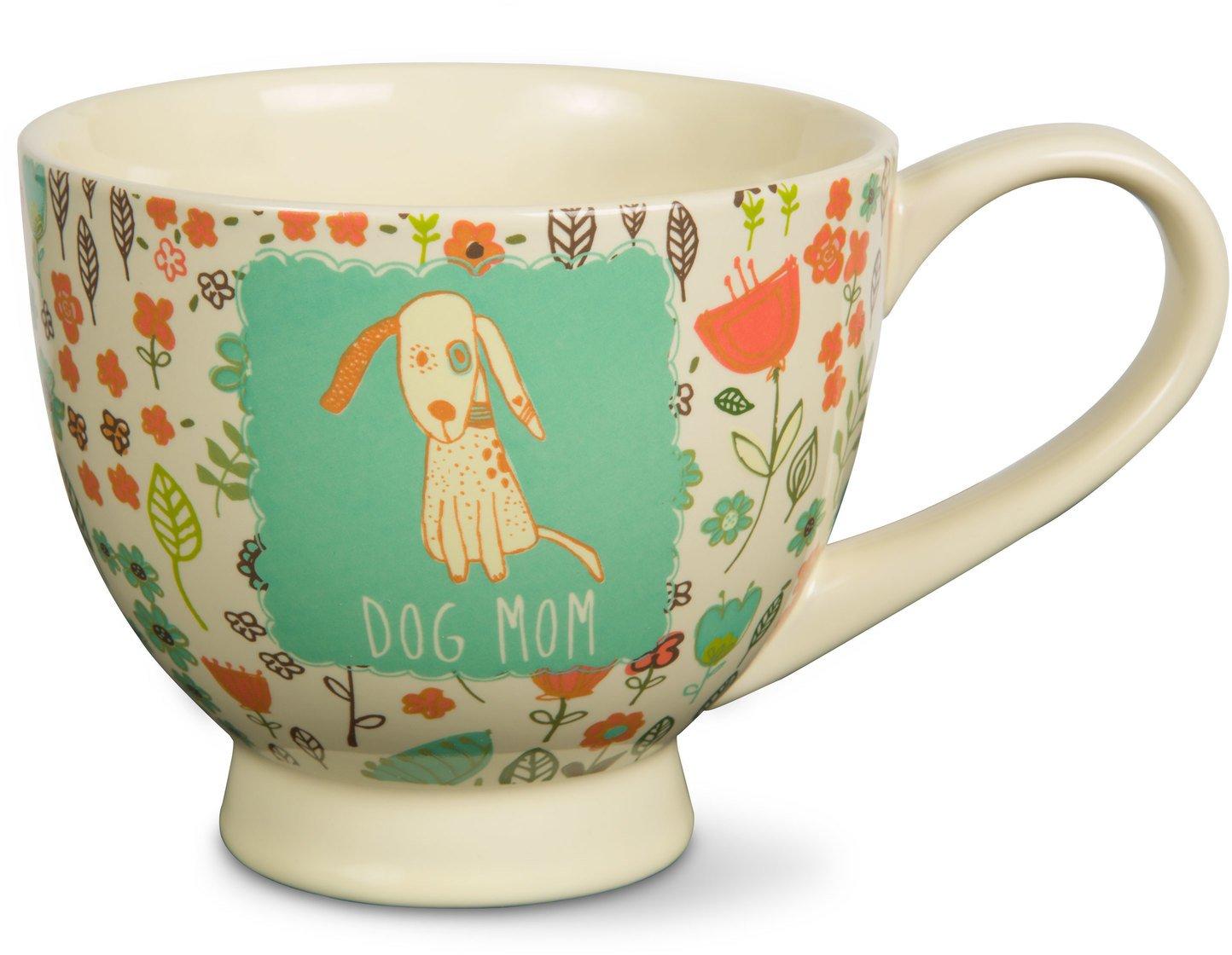Pavilion Gift Company 54006 ''A Mother's Love-Dog Mom'' Floral Soup Bowl Mug, Teal, 17 oz