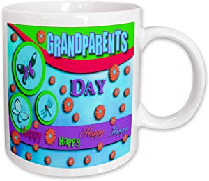 3dRose Grandparents Day Butterflies Dragonfly and Flowers Blue Ceramic Mug, 11-Ounce