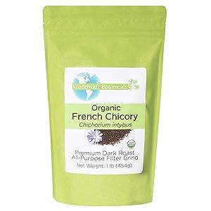 Worldwide Botanicals Organic French Chicory Root - Dark Roast, Brew Like Coffee, Blend Roasted Chicory Root With Coffee, Coffee Alternative, Acid Free, Caffeine Free, Kosher, 1 Pound