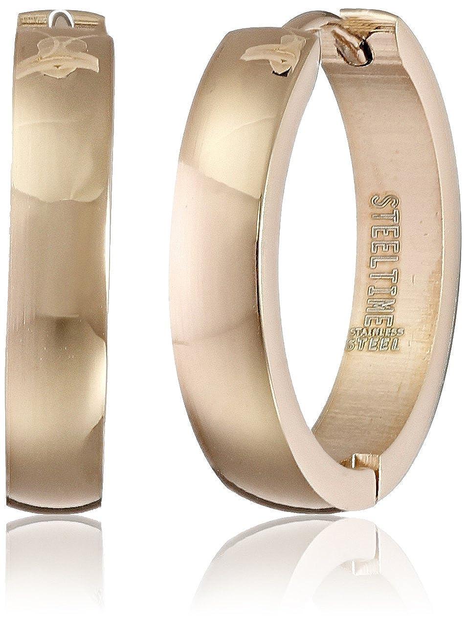 Stainless Steel Rose Gold Huggie Earrings 618-165-E