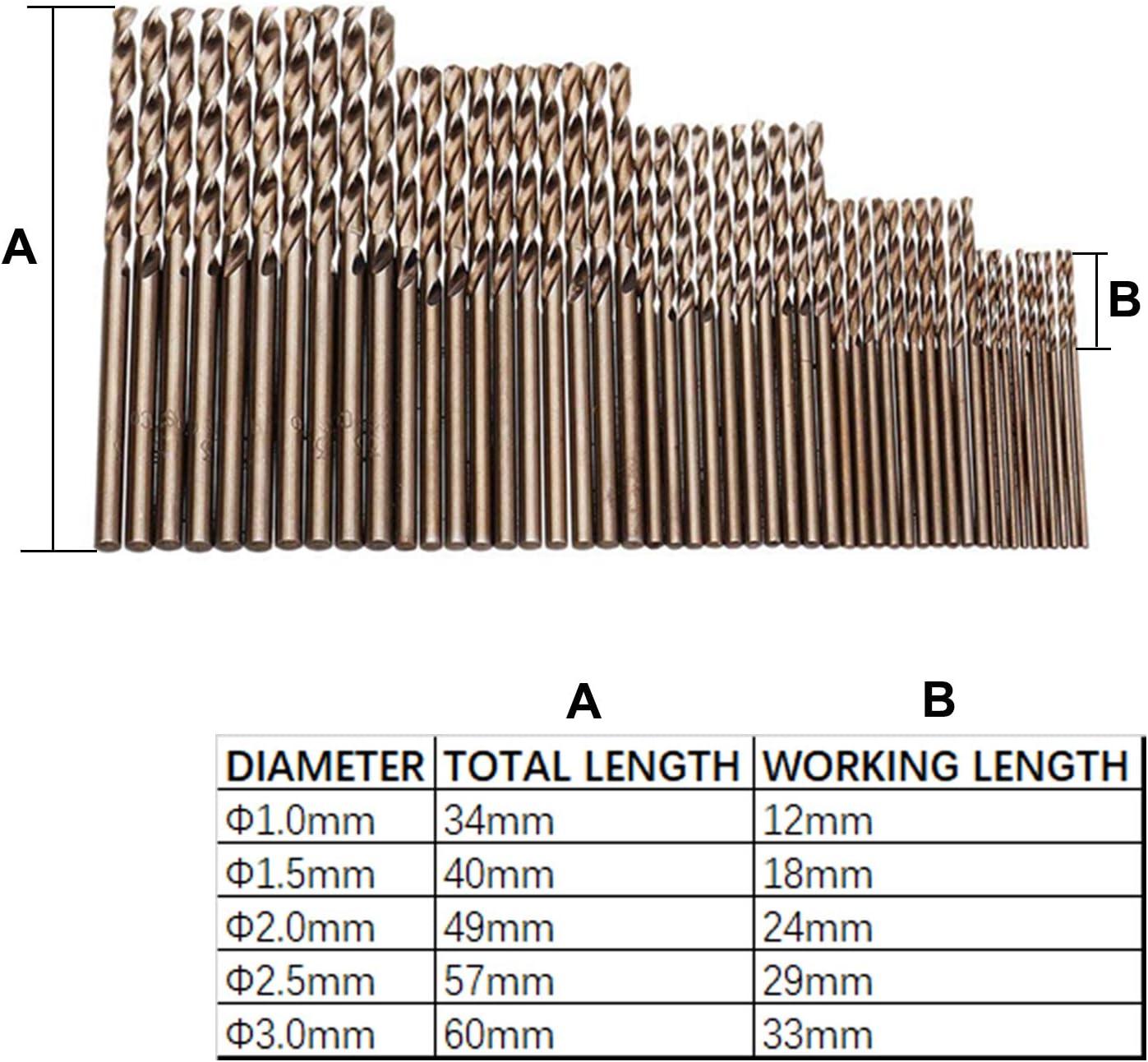 CUKCIC Forets /à M/étal H/élico/ïdaux Cobalt M35 HSS-Co Jonc Parall/èle Jobber Drill 50 Pi/èces 1mm 1,5mm 2mm 2,5mm 3mm