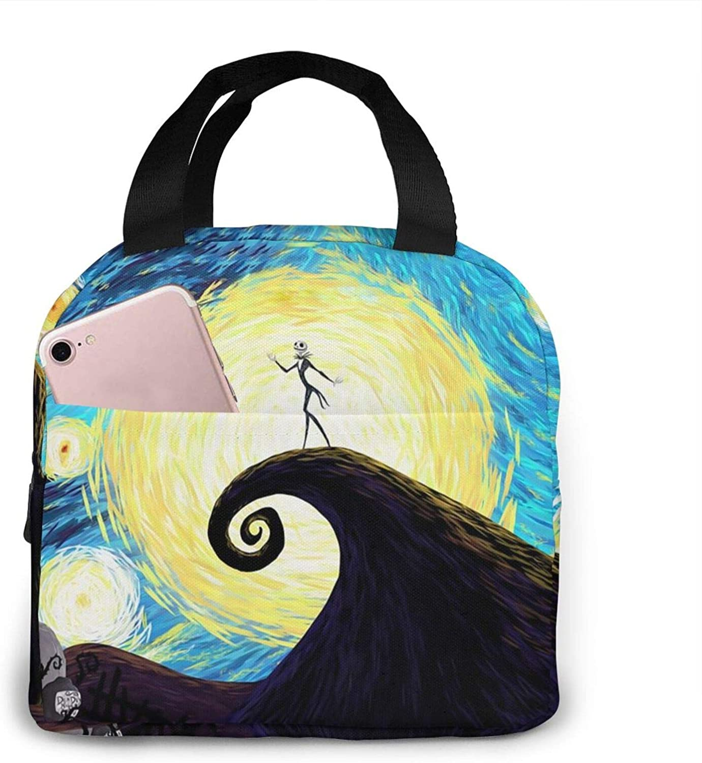 Sadie Mae Nig-htmare Befo-e Christm-as Insulated Durable Lunch Bag for Men Women,Tote Portable Handbag Lunchbox Food Tote Cooler Warm Pouch for School Work Office Picnic Travel Beach