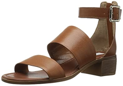 Steve Madden Womens Daly Leather Open Toe Casual Ankle, Cognac Leather, Size  5.5