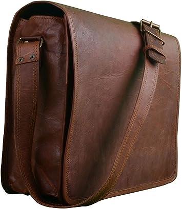 New Men/'s Vintage Brown Leather Half Flap Messenger Laptop Satchel Shoulder Bag