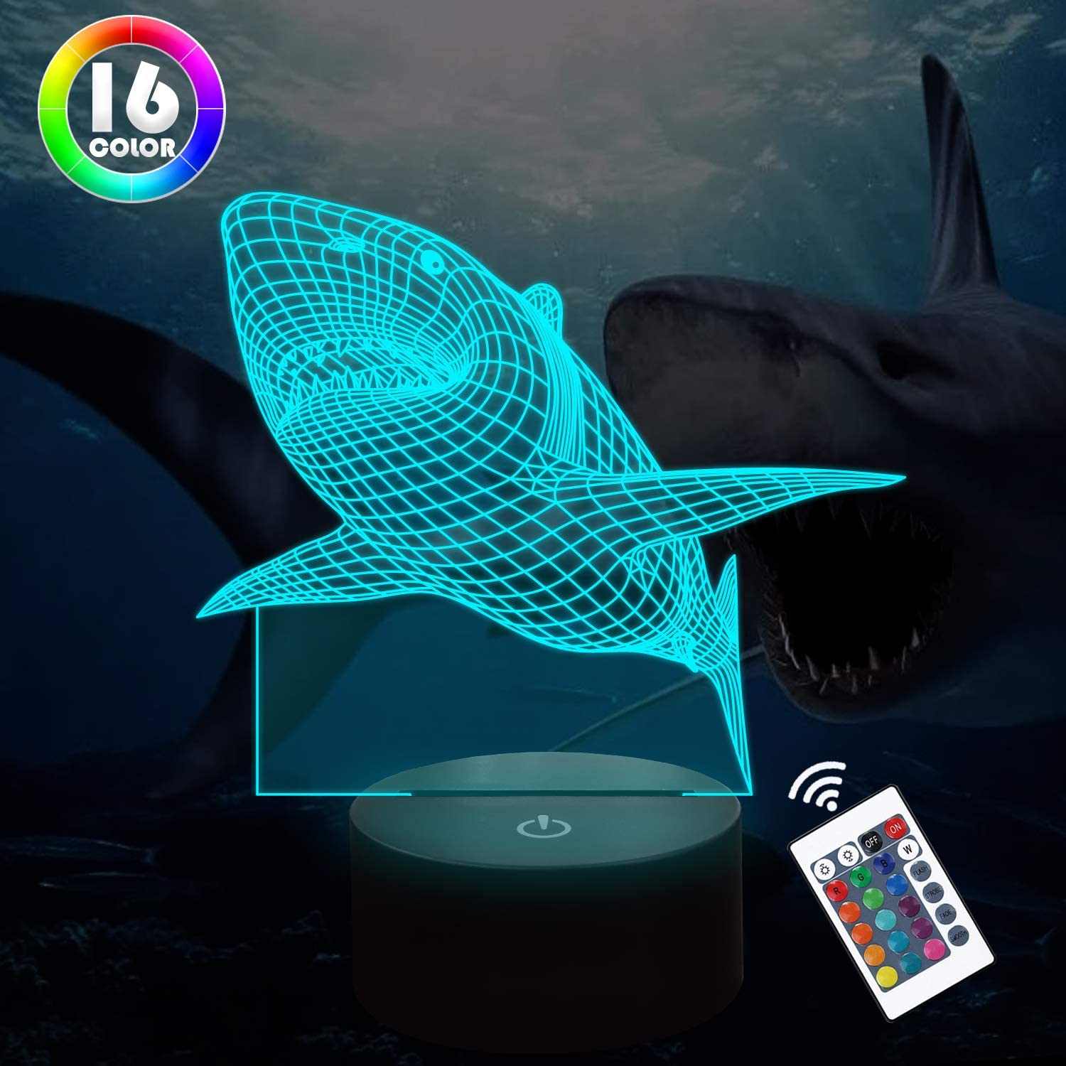Lampeez 3D Shark Night Light Table Desk Illusion LED Lamp,16 Colors Remote Change Room Home Decor Xmas Birthday Shark Gifts for Child Baby