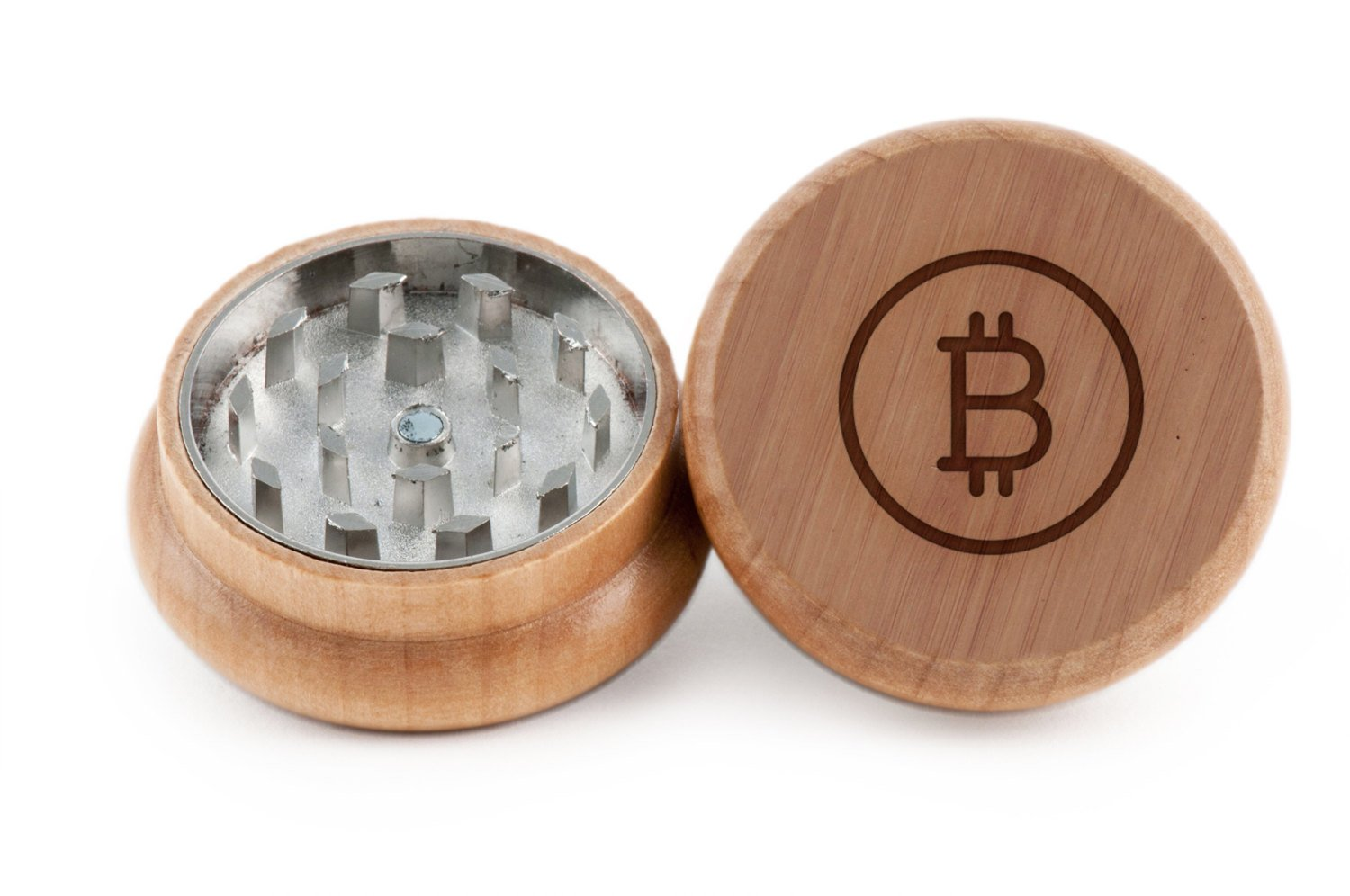 GRINDCANDY Spice And Herb Grinder - Laser Etched Bitcoin Design - Manual Oak Pepper Grinder