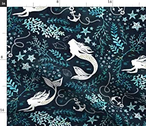Spoonflower Fabric - Mermaid Ocean Nautical Green Turquoise Mint Seaweed Printed on Petal Signature Cotton Fabric by The Yard - Sewing Quilting Apparel Crafts Decor
