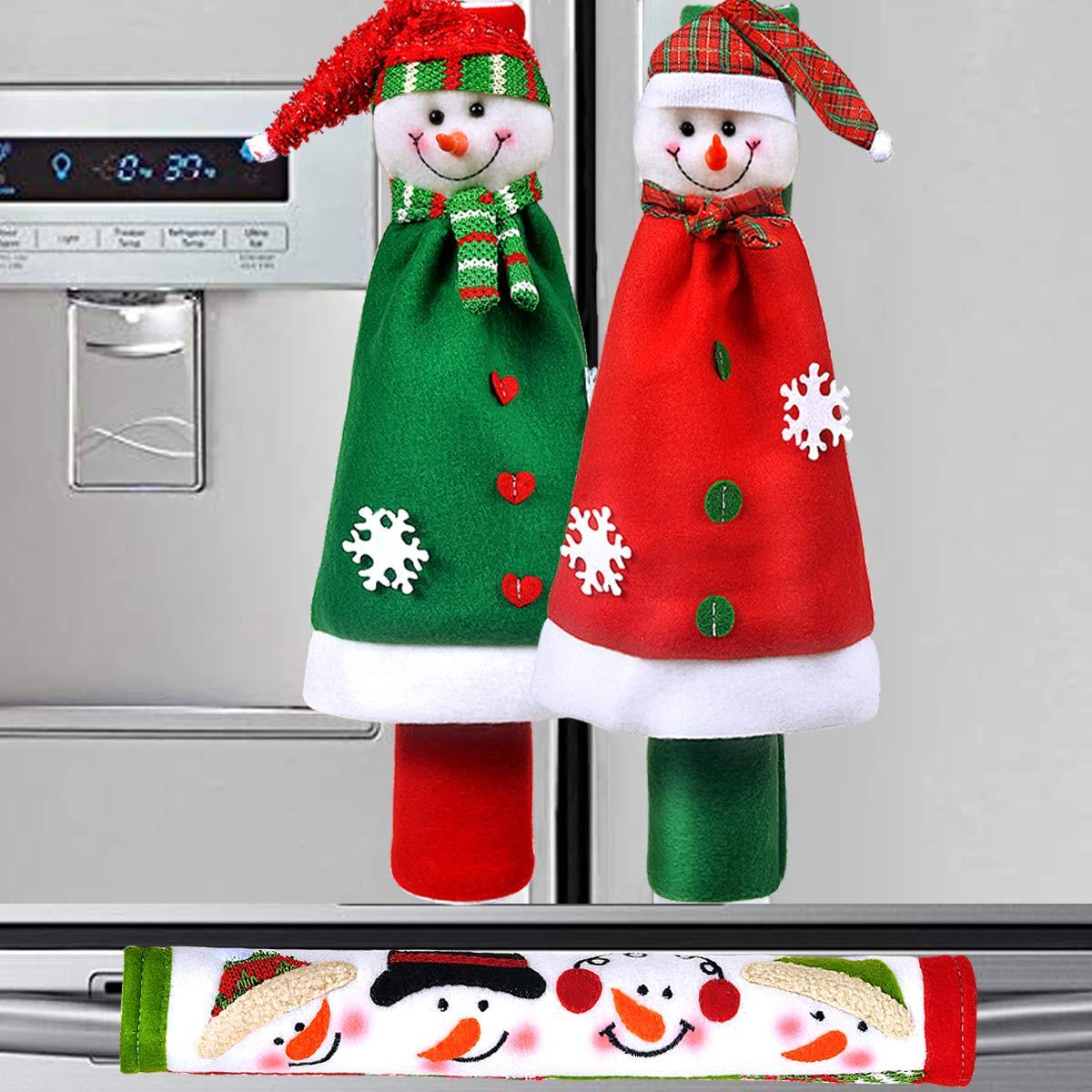 OUGAR8 Adorable Snowman Refrigerator Handle Covers Set | Cute &Practical Fridge Door Covers| Protective Kitchen Appliance Covers |Perfect Christmas Decorations Idea (3-Cloak)