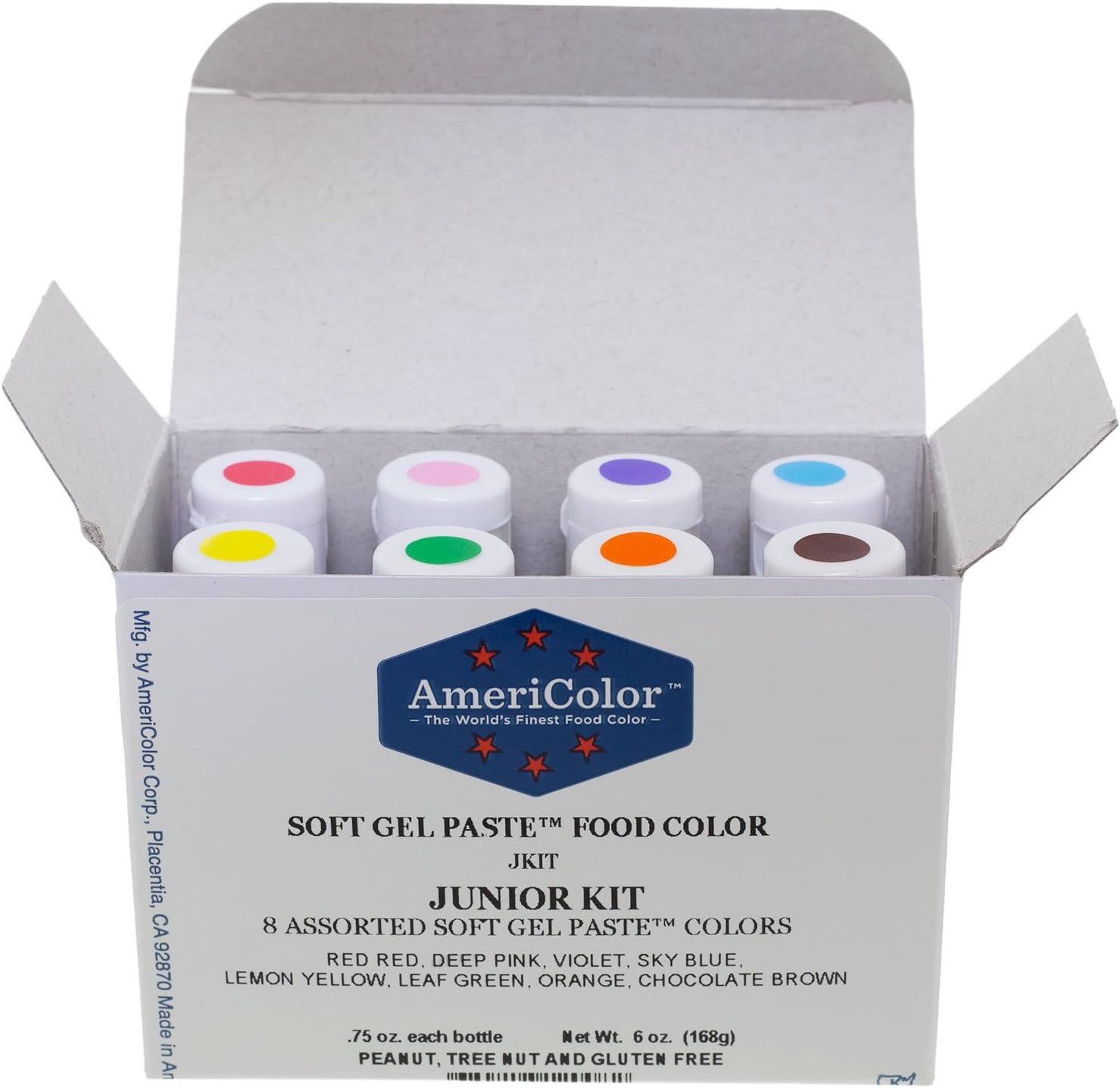 AmeriColor Soft Gel Paste Food Color, Junior Kit-8 assorted colors,0.75 oz bottles by AmeriColor