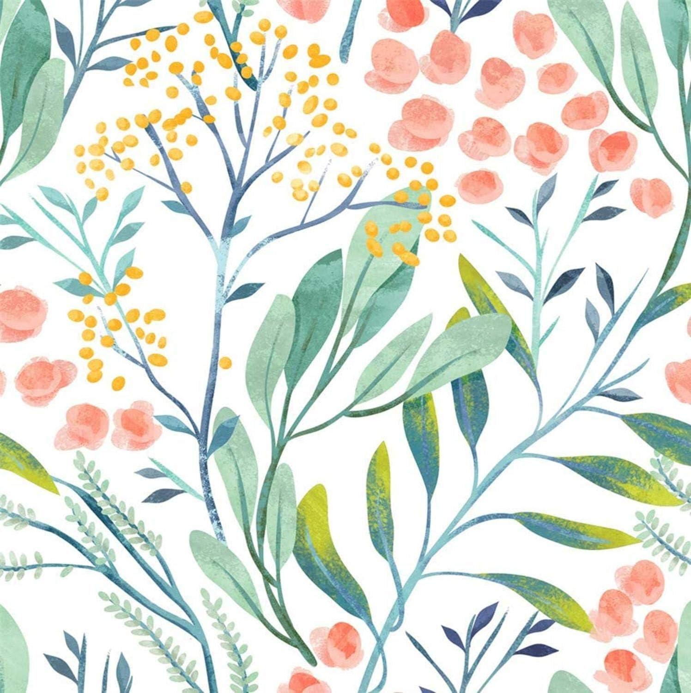 Watercolor Wallpaper Floral Watercolour SKU:WNFW Removable Wallpaper Reusable