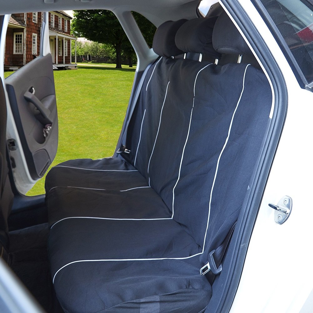 UR URLIFEHALL Black//Charcoal RED Universal Fit Full Set Flat Cloth Fabric Car Seat Cover Fit Most Car, Truck, SUV, or Van