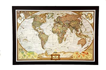 Amazon giant size best selling push pin map of the world nat giant size best selling push pin map of the world nat geos executive world framed 785 sciox Images