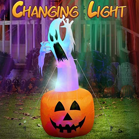 Amazon.com: AerWo 6Ft Halloween Inflatables Blow Up Yard Decorations, Upgraded Ghost on Pumpkin Inflatable with Gradient LED Lights for Halloween Decorations Outdoor: Garden & Outdoor