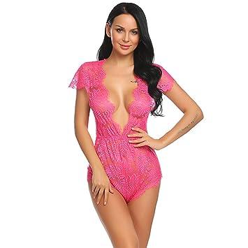 c504622afc07 NOMSOCR Sexy Crotchless Lingerie, Womens One Piece Teddy Lace Babydoll  Eyelash Trim Bodysuit V-