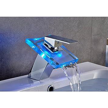 Auralum Led Wasserhahn Wasserfall Glas mit RGB Farbewechsel Bad Badezimmer Waschbecken WC, Chrom