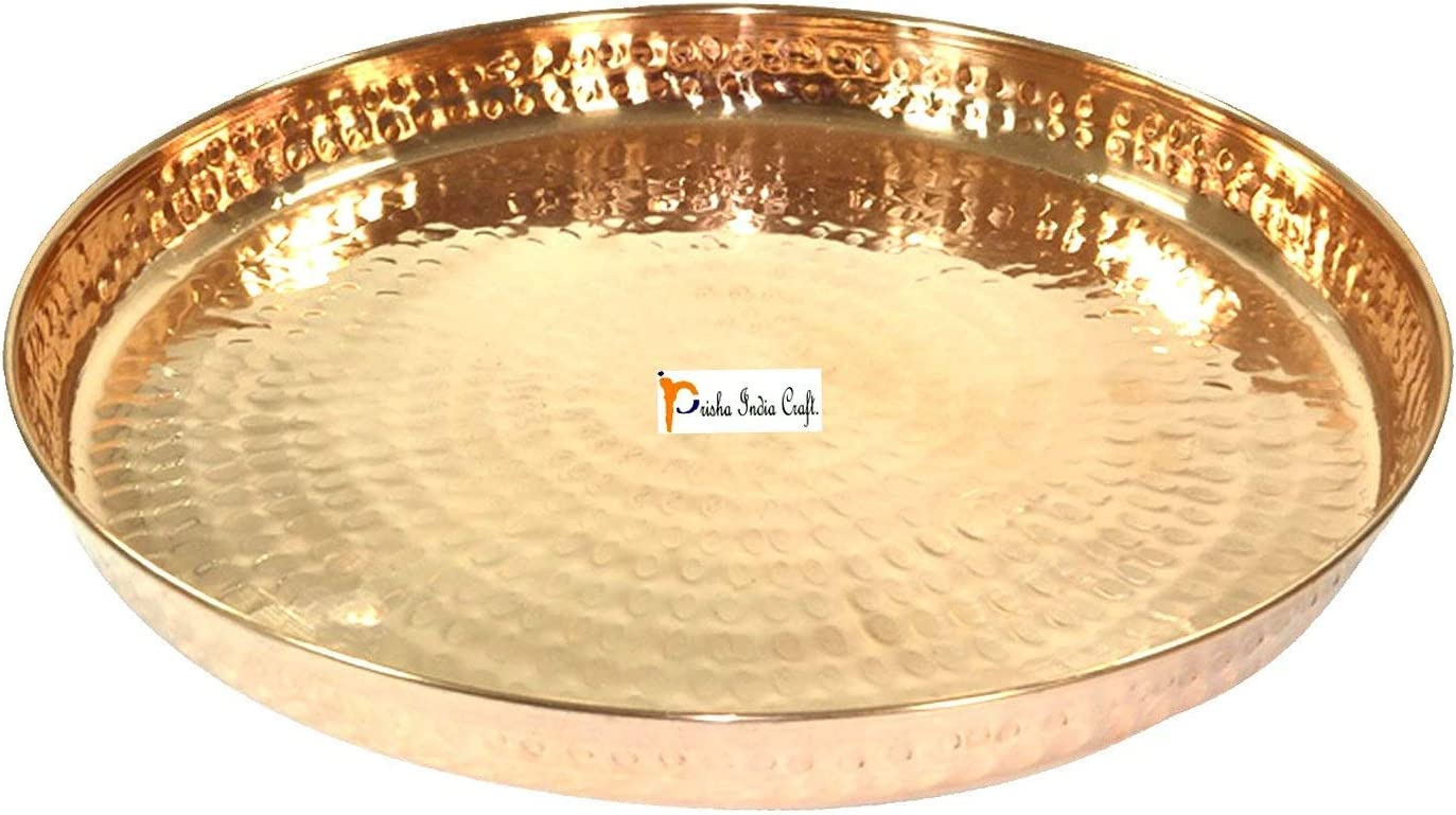 Prisha India Craft 100% Pure Copper Dinner Plate - DIAMETER 12 INCH- Traditional KitchenSpecial Thali Plate For Home Decorative Restaurant Ware Hotel - CHRISTMAS GIFTS