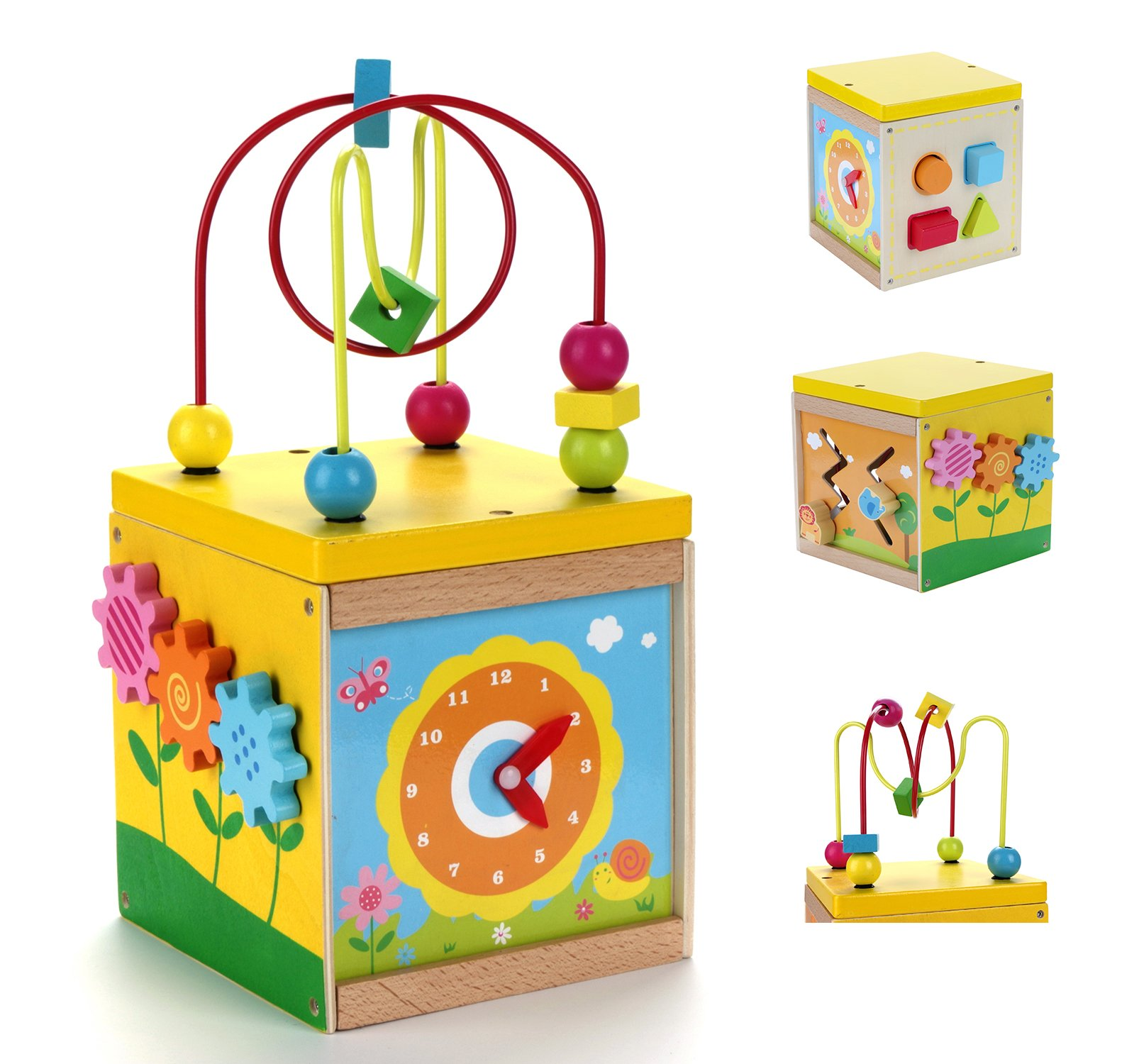 USATDD Activity Cube Toys Baby Educational Wooden Bead Maze Shape Sorter for 1 Year Old Boy and Girl Toddlers Gift Small Size