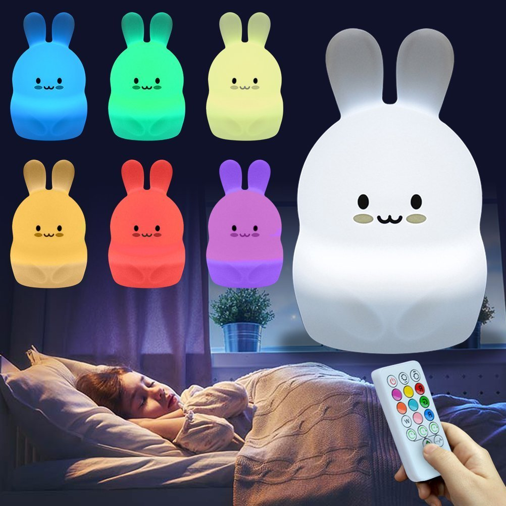 Cute Nursery Night Light for Kids, iWheat Soft Silicone Remote Control Night Light with Timer, LED Multicolor Night Light Portable USB Rechargeable Christmas Gifts for Baby Children