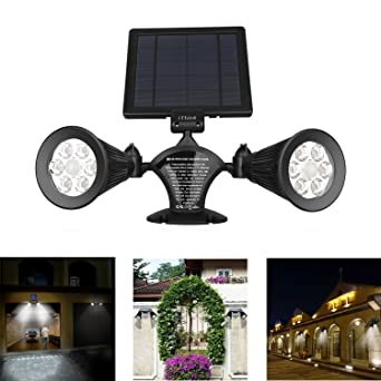 Solar Motion Sensor Light Outdoor, IThird 12 LED 600LM Solar Powered  Security Lights Wall Mounted