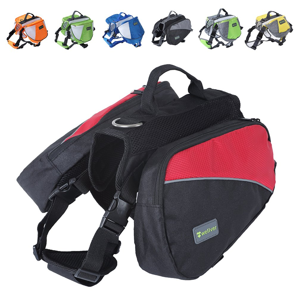 Wellver Dog Backpack Saddle Bag Outdoor Travel Packs For Hiking Walking Camping