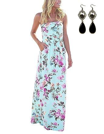 52a476462a61ee carinacoco Damen Bandeau Bustier Kleider mit Blüte Drucken Lange Sommerkleid  Abendkleid Partykleid Cocktailkleid Geblümt S