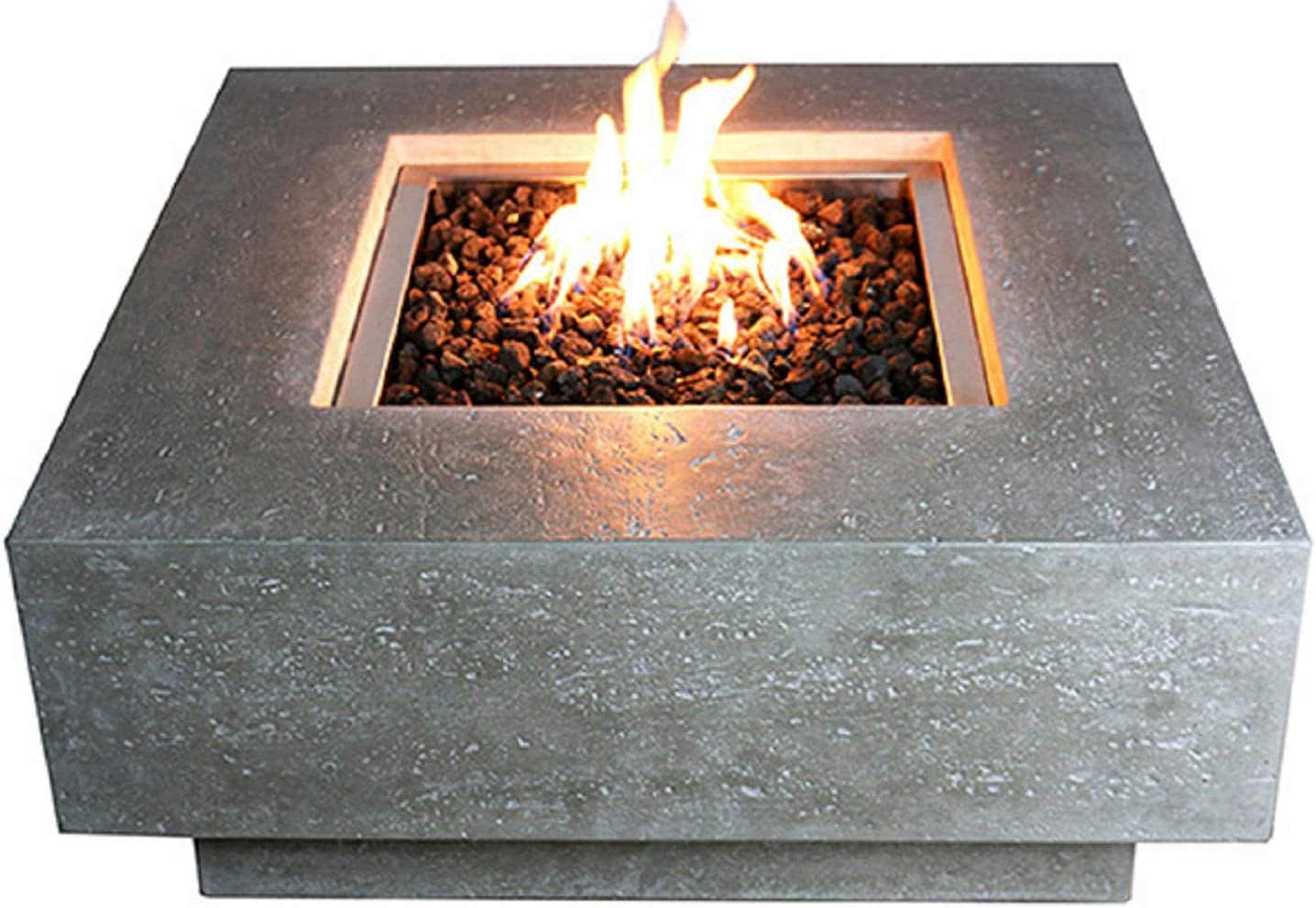 Elementi Manhattan Outdoor Gas Firepit Table 36 Inches Natural Gas Fire Pit Patio Heater Concrete High Floor Firepits Outside Electronic Ignition Backyard Fireplace Cover Lava Rock Included