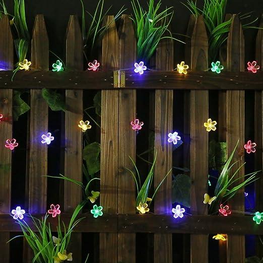Solar String Lights – Solar Garden Lights con 50 luces LED de flores para jardín, decoración de jardín, multicolor, festival, fiesta de Navidad, iluminación solar para exteriores (multicolor): Amazon.es: Iluminación