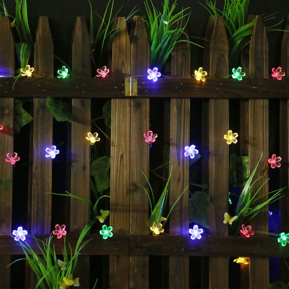 SKYFIRE 50 LED Solar Powered Flower Bulbs Outdoor String Lights Multi Color