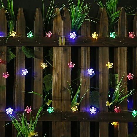 50 LED Solar Lichterkette Blumen Außenbeleuchtung Weihnachten Party Garten Kette