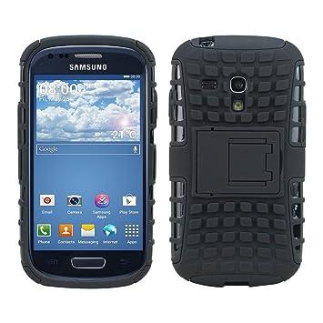 kwmobile 1x Funda híbrida con soporte compatible con Samsung Galaxy S3 Mini i8190 en negro