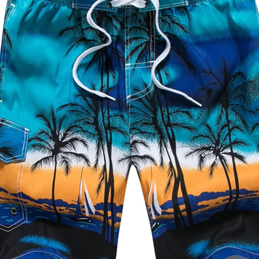 GREFER Mens Printed Swim Trunks Quick Dry Beachwear Sports Running Swim Board Shorts Blue