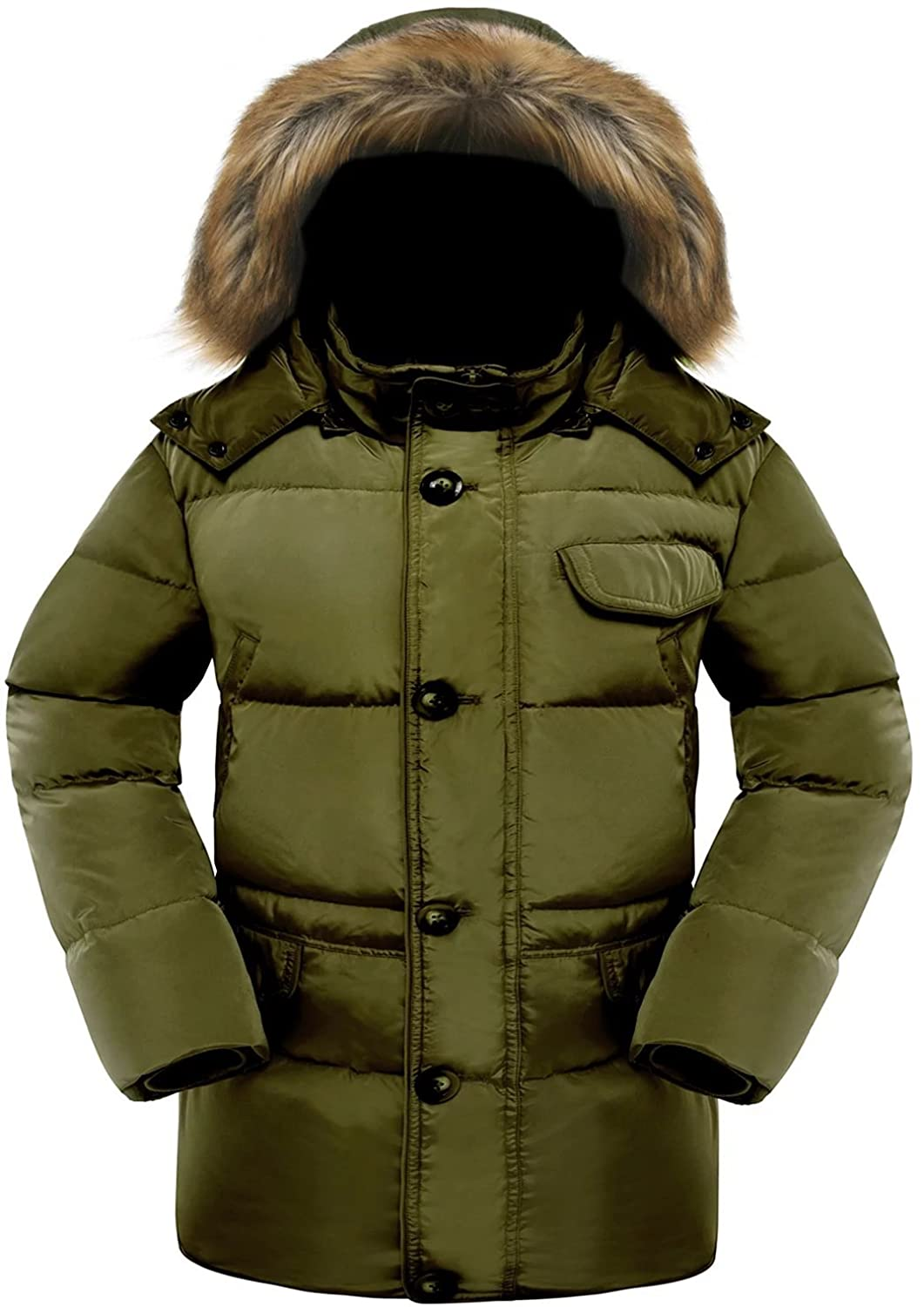 Valuker Men's Down Coat With Fur Hood 90% Down Parka Puffer Jacket ...