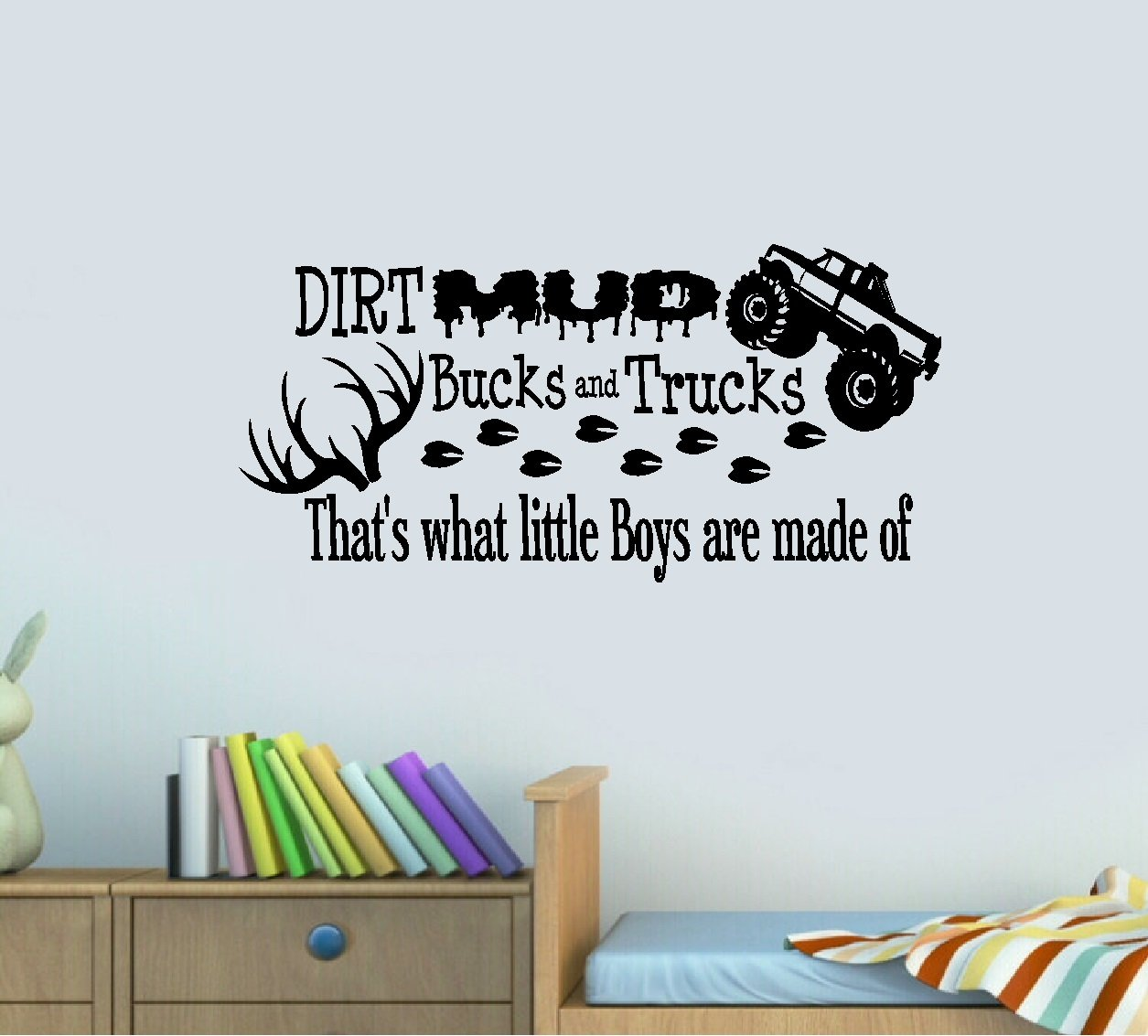 Amazon dirt mud bucks and trucks thats what little boys amazon dirt mud bucks and trucks thats what little boys are made of wall decal 13 x 28 home kitchen amipublicfo Images