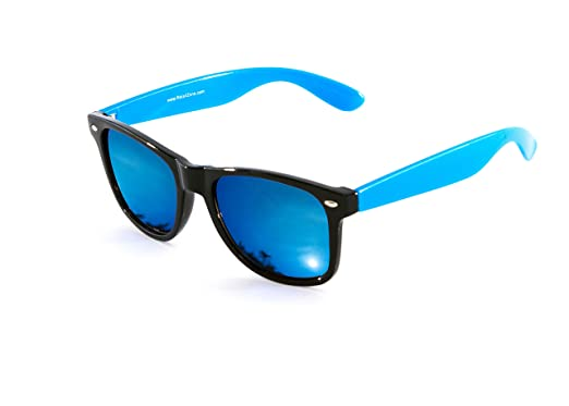 d6264dffcb8 Image Unavailable. Image not available for. Colour  Wayfarer Sunglasses  With Blue Arms   Blue Mirror Lens Designer Style New