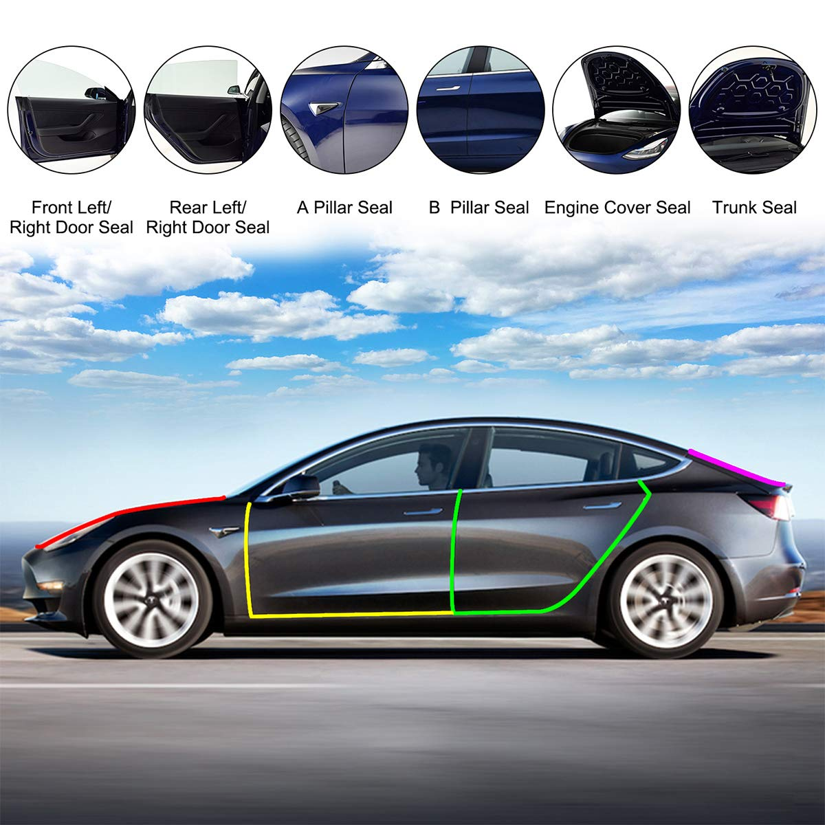 Manfiter Tesla Model 3 Door Seal Kit Tesla Model 3 Accessories Model 3 Noise Reduction Kit Soundproof Weather Seal Strip for Tesla Model 3 Black 6 Pack