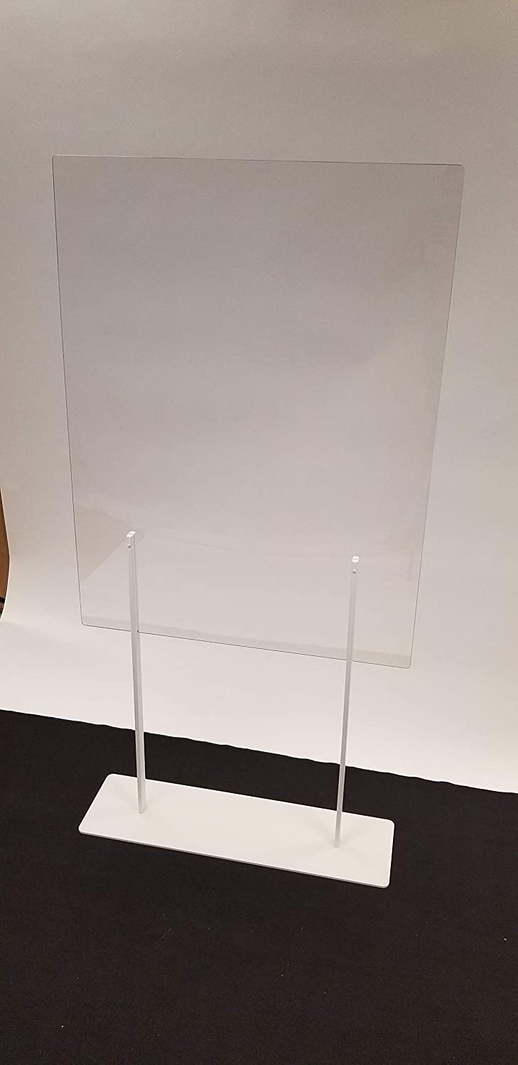 "Plexiglass Partition Dividers 72""H x 36""W - Clear Screens Sanitation Walls/Great for Offices, Salons, Clinics, Nail Salons, and Restaurants (White)"
