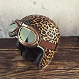 Initial Women's Motorcycle Open Face Helmet - Fashion Leopard Print