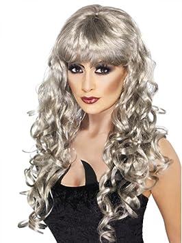 Pelucas mujeres largo Gris plata flequillo rizado corrugado carnaval Navidad carnaval Halloween
