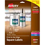 "Avery Print-to-The-Edge Glossy Clear Square Labels, 2"" x 2"", Pack of 120 Labels (22853)"
