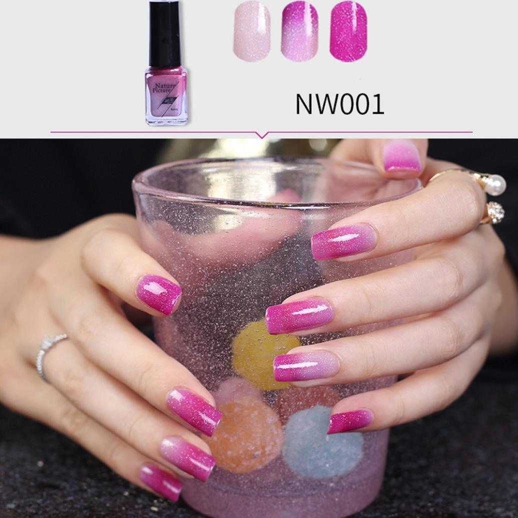 Hot Nail Art! AMA(TM) Temperature Change Nail Polish Chameleon Thermal Color Change UV Gel Pigment (B) Amaping