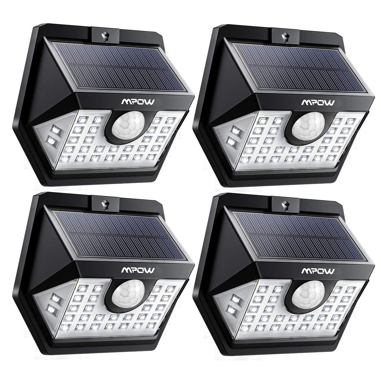 Mpow Solarlampe fü r Auß en, Weitwinkel Solarleuchte Auß en IP65 Wasserdicht Sensorkopf 30 LED Solarleuchte mit Bewegungsmelder Superhelles Weitwinkel Solarlampen fü r Garten, Garage, Balkon, Patio, Hof