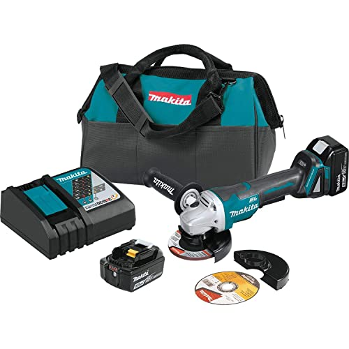 Makita XAG11T 18V LXT Lithium-Ion Brushless Cordless 4-1 2 5 Paddle Switch Cut-Off Angle Grinder Kit, with Electric Brake 5.0Ah